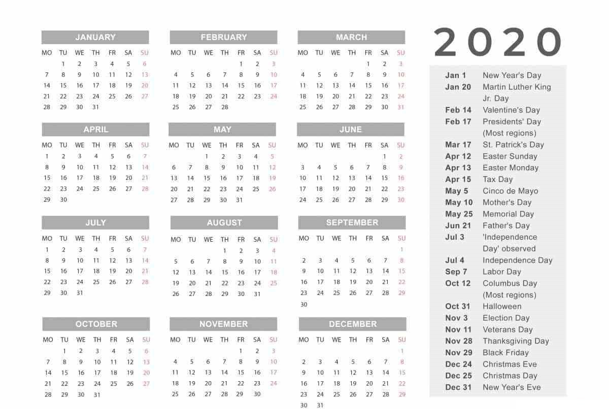 Holidays Calendar 2020 Printable