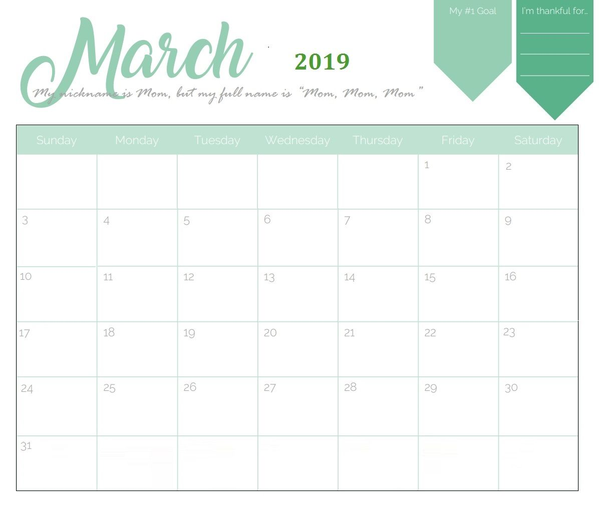 picture about Printable March Calendar Pdf called March 2019 Printable Calendar PDF - No cost August 2019