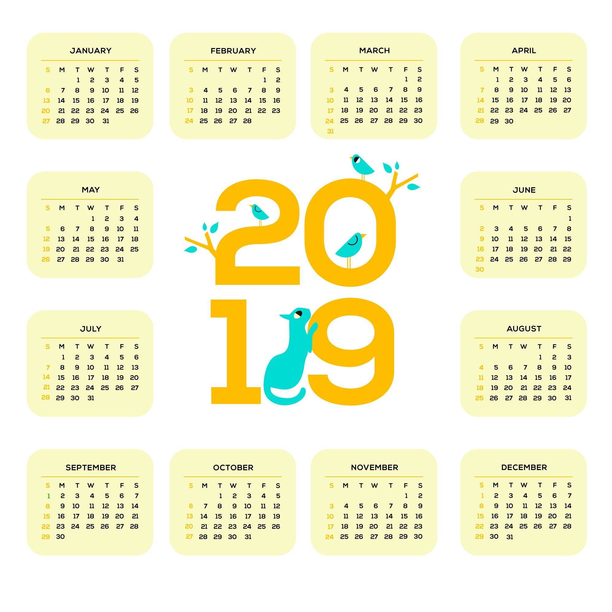 Printable 2019 One Page Wall Calendar