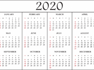 January to December 2020 Calendar