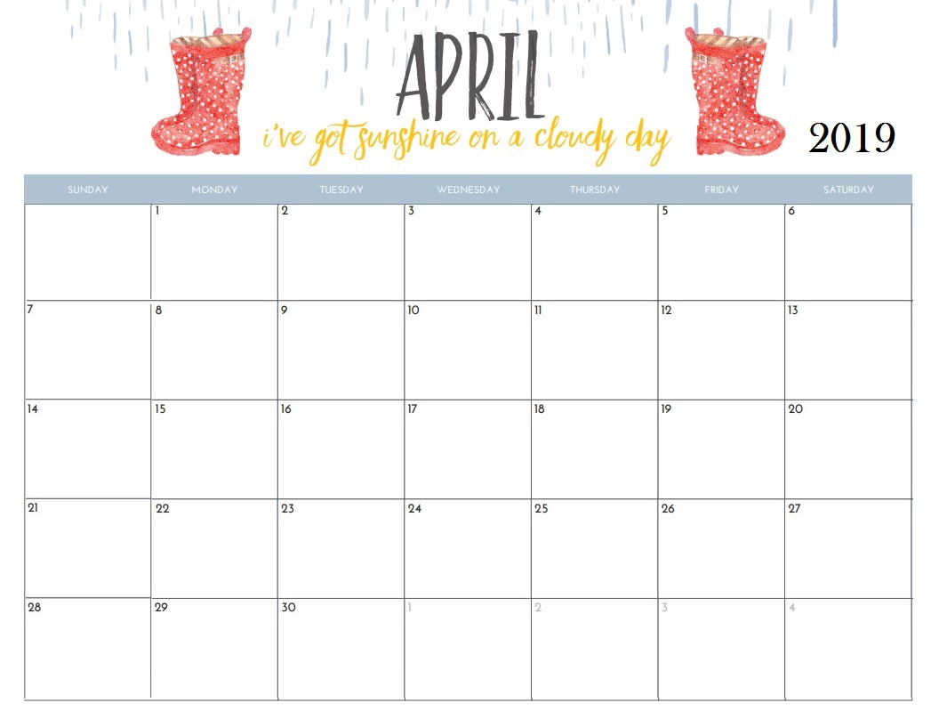 April 2019 Blank Calendar Free March 2019 Calendar Printable