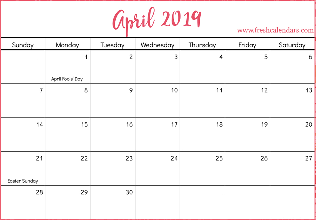 April 2019 Calendar With Holidays Free March 2019 Calendar