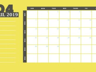 April 2019 Desk Calendar Template