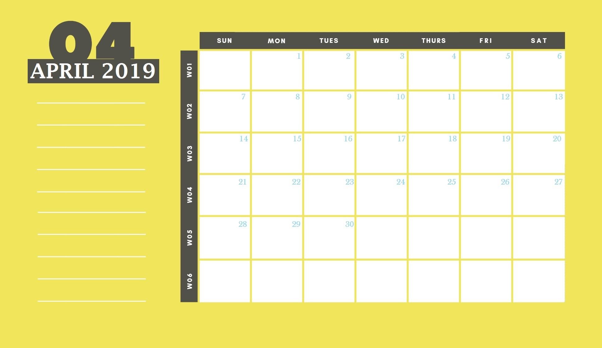 April 2019 Desk Calendar Template