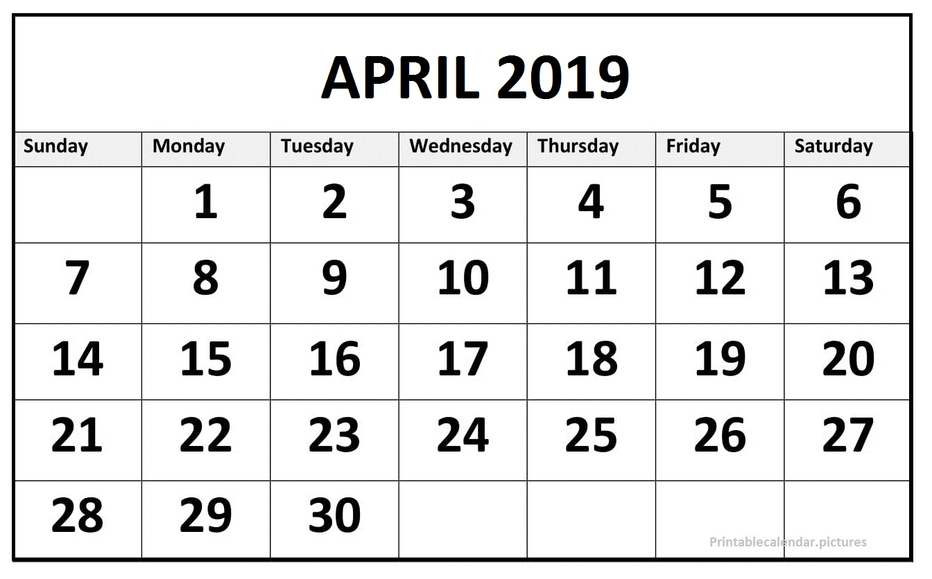 April 2019 Printable Calendar Excel
