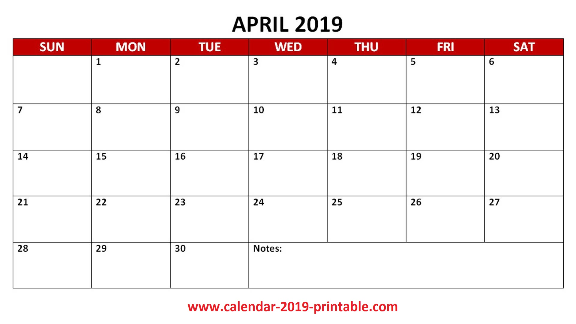 April 2019 Printable Calendar PDF
