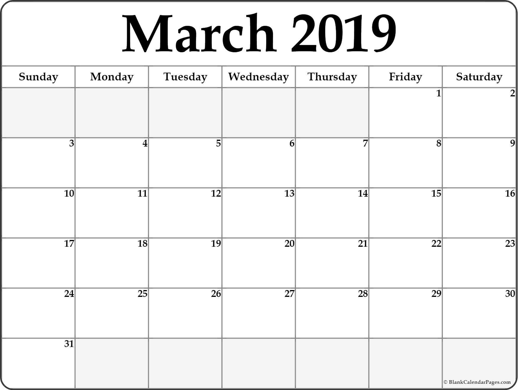 Blank Calendar March 2019 PDF