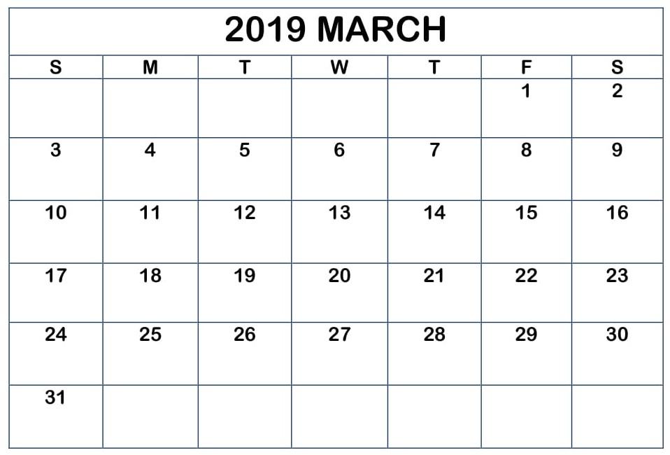 Blank Calendar March 2019 Workout Template