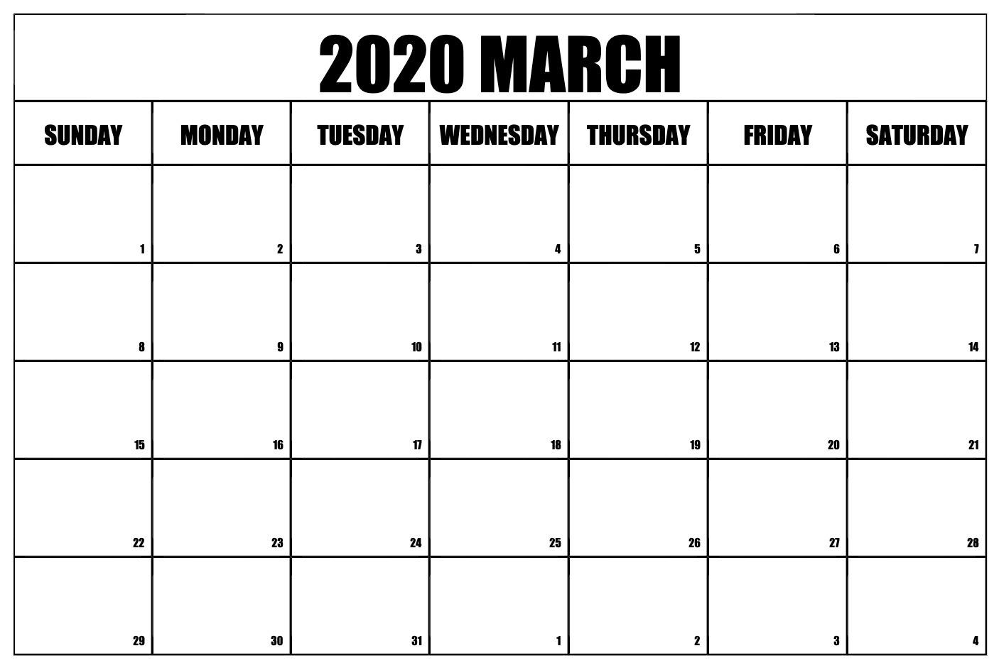 Blank March Calendar 2020