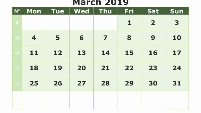 photograph about Printable Blank Monthly Calendar referred to as Every month Blank Calendar Webpages March 2019 Printable Template PDF