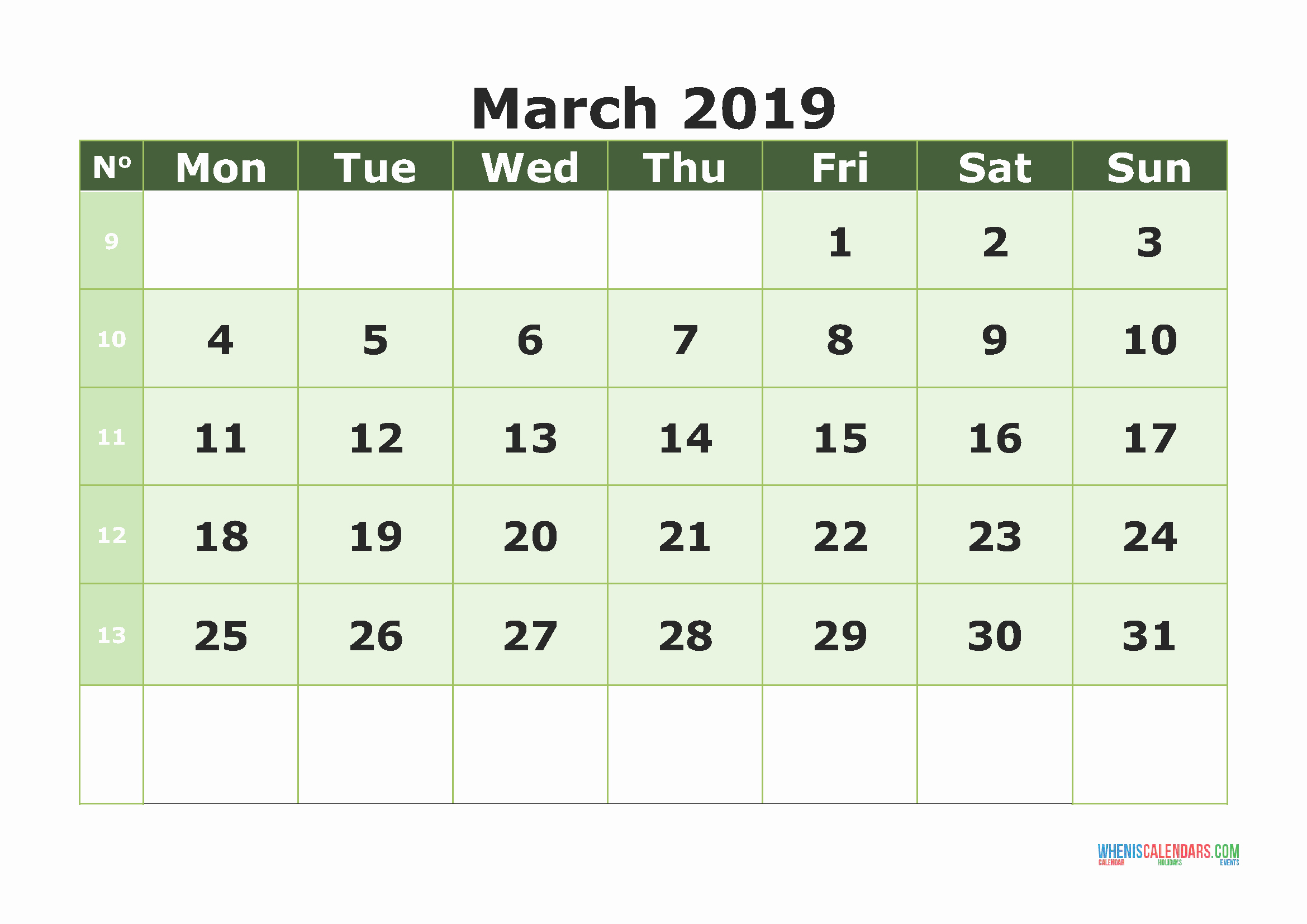 Blank Monthly Calendar March 2019