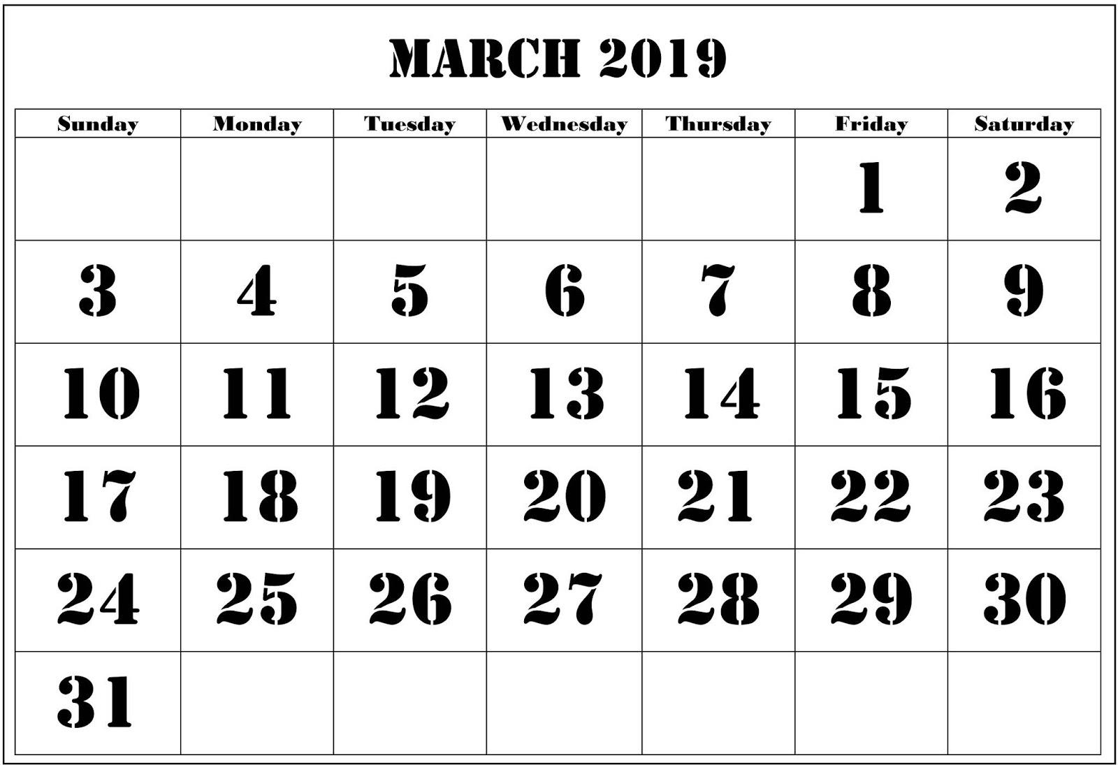 Blank Printable March 2019 Calendar