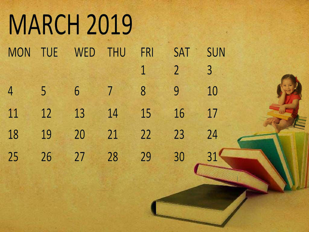 Cute March 2019 Calendar Clipart