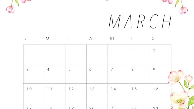 photo about Cute Calendars referred to as Lovely March 2019 Calendar Printable Floral Layout Wallpaper