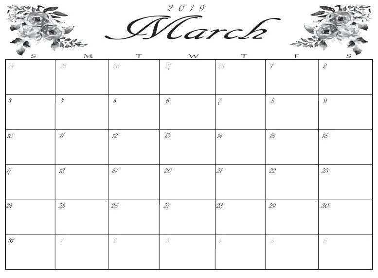 Cute March 2019 Calendar Template