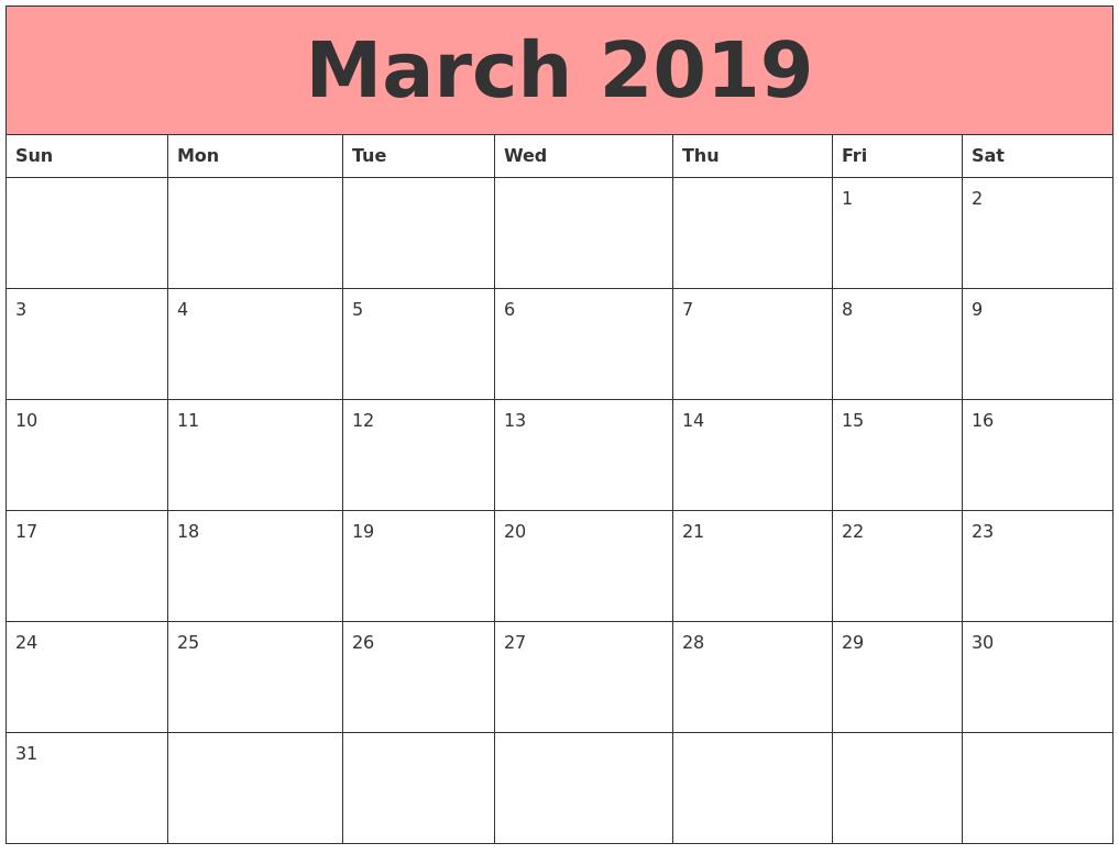 Cute March 2019 Calendar