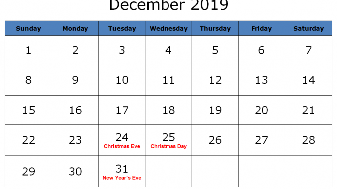 December 2014 January 2019 Calendar January To December 2019 Calendar Printable PDF Word Excel