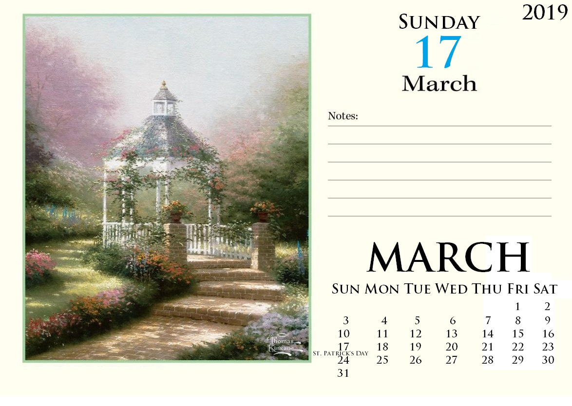 Desk Calendar For March 2019