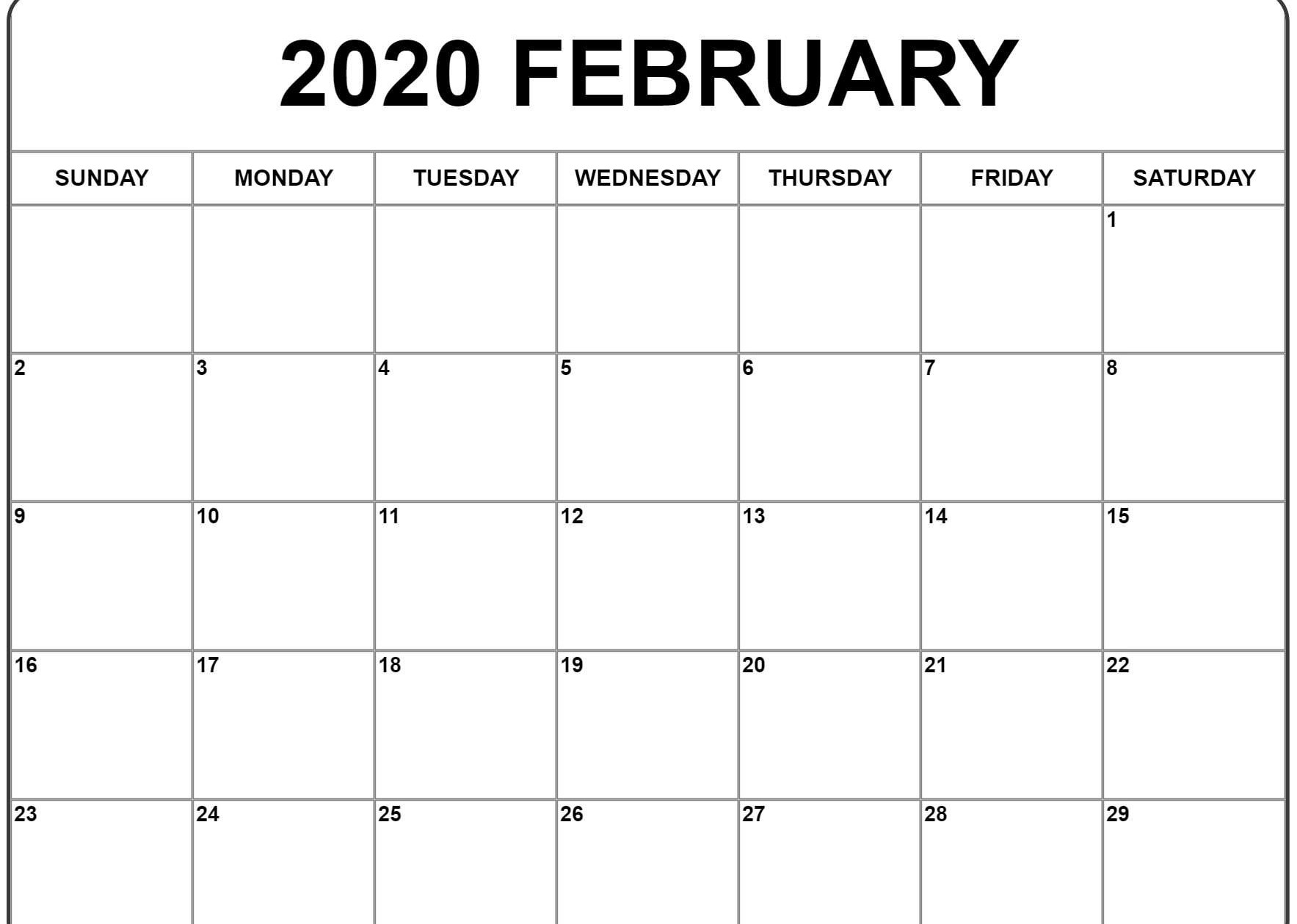 February 2020 Calendar Xls