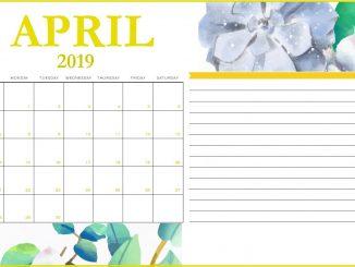 Floral April 2019 Printable Calendar