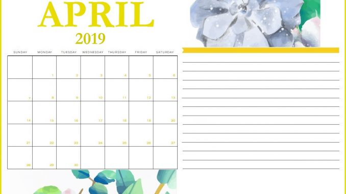 Monthly Blank April 2019 Printable Calendar Template Pdf