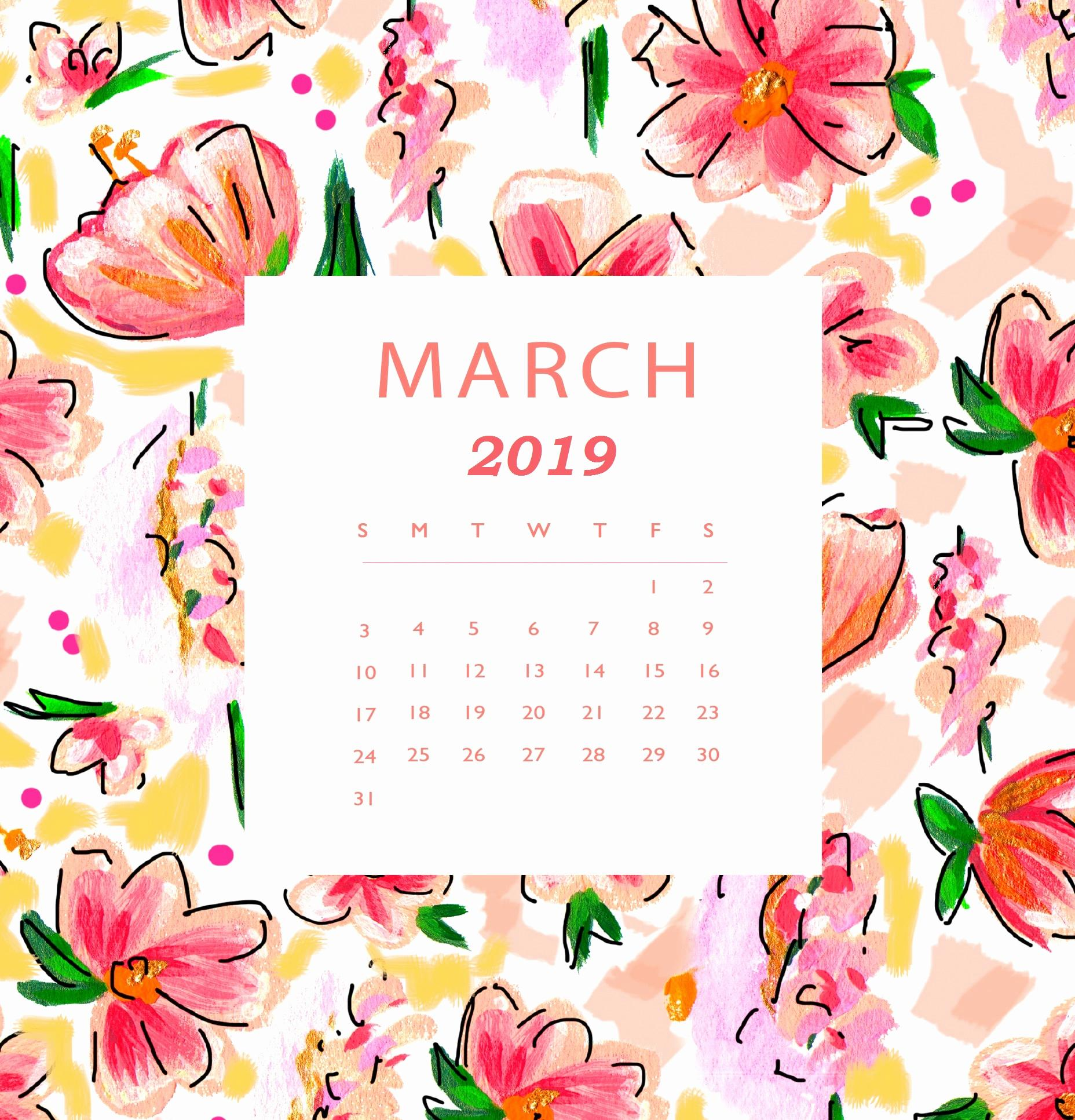 Floral March 2019 iPhone Calendar Wallpaper