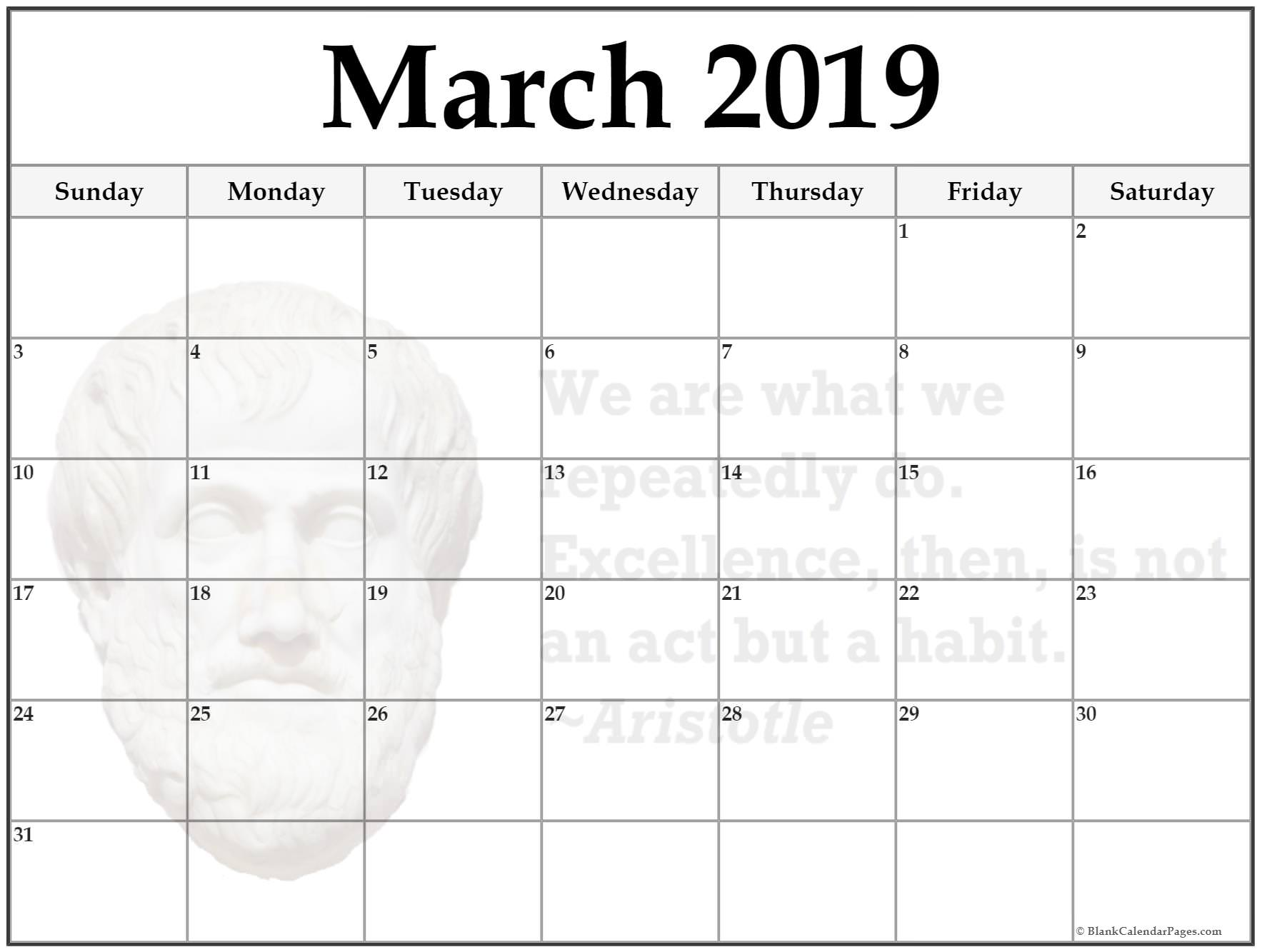 image about Free Printable Blank Calendars named Cost-free Printable Blank Calendar March 2019 - No cost August 2019