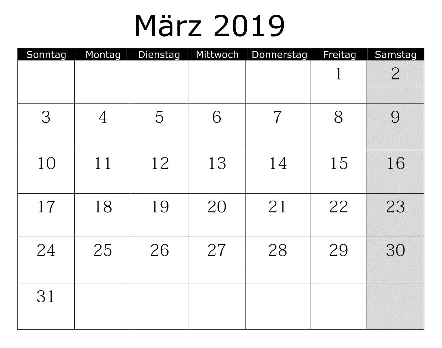 Kalender März 2019 Zum Ausdrucken Excel