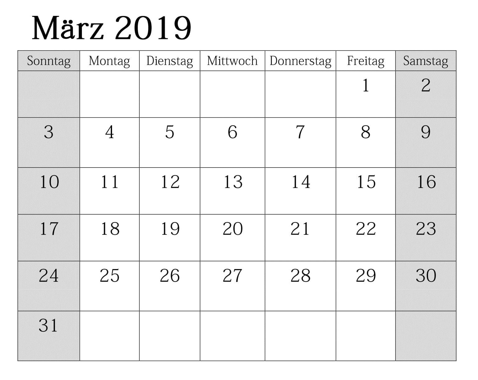 Kalender März 2019 Zum Ausdrucken Feiertagen