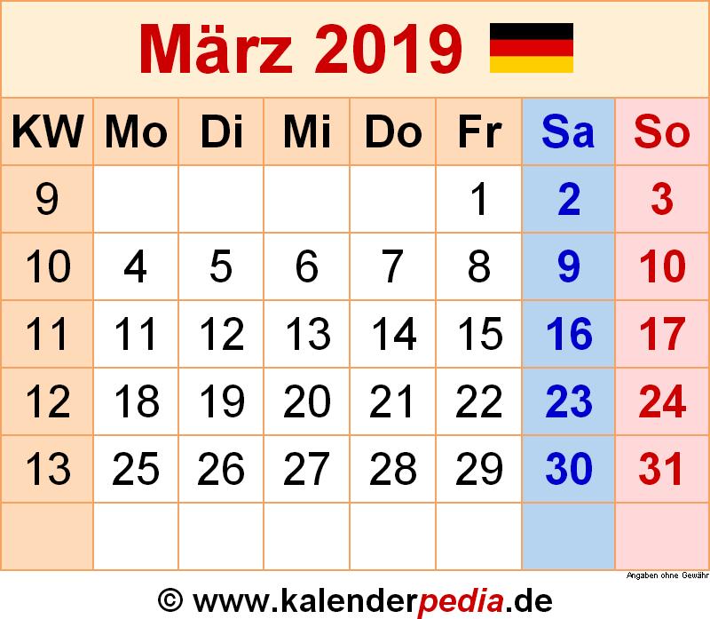 Kalender Maerz 2019 Deutschland