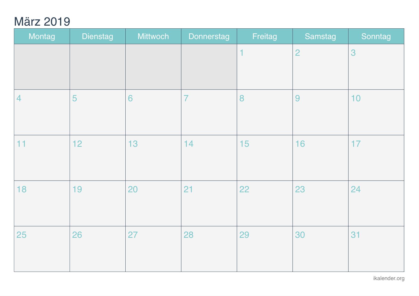 Kostenlose druckbare März-Kalender 2019