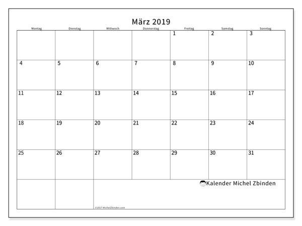 Leerer Kalender für März 2019