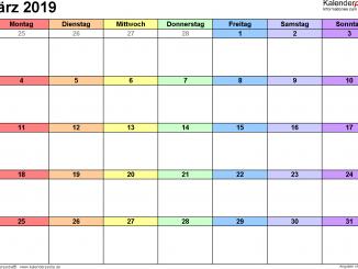 März 2019 Kalender zum Ausdrucken