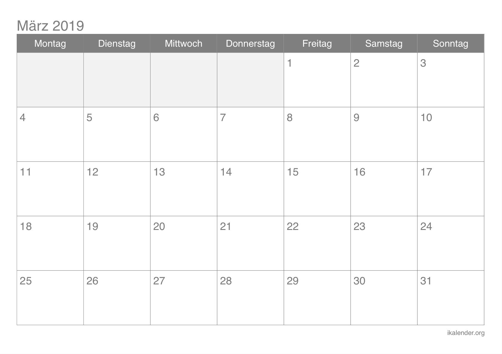 März-Kalender 2019 zum ausdrucken