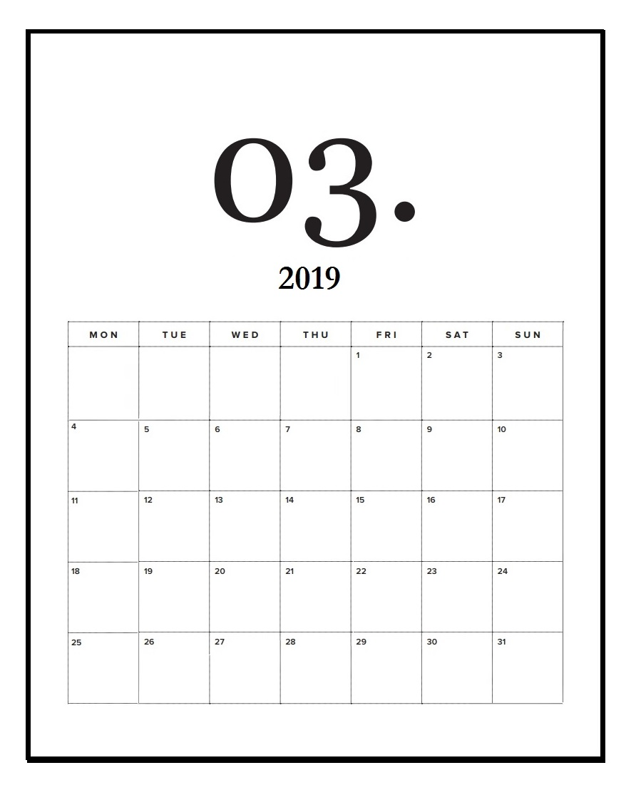 March 2019 Calendar Office Wall