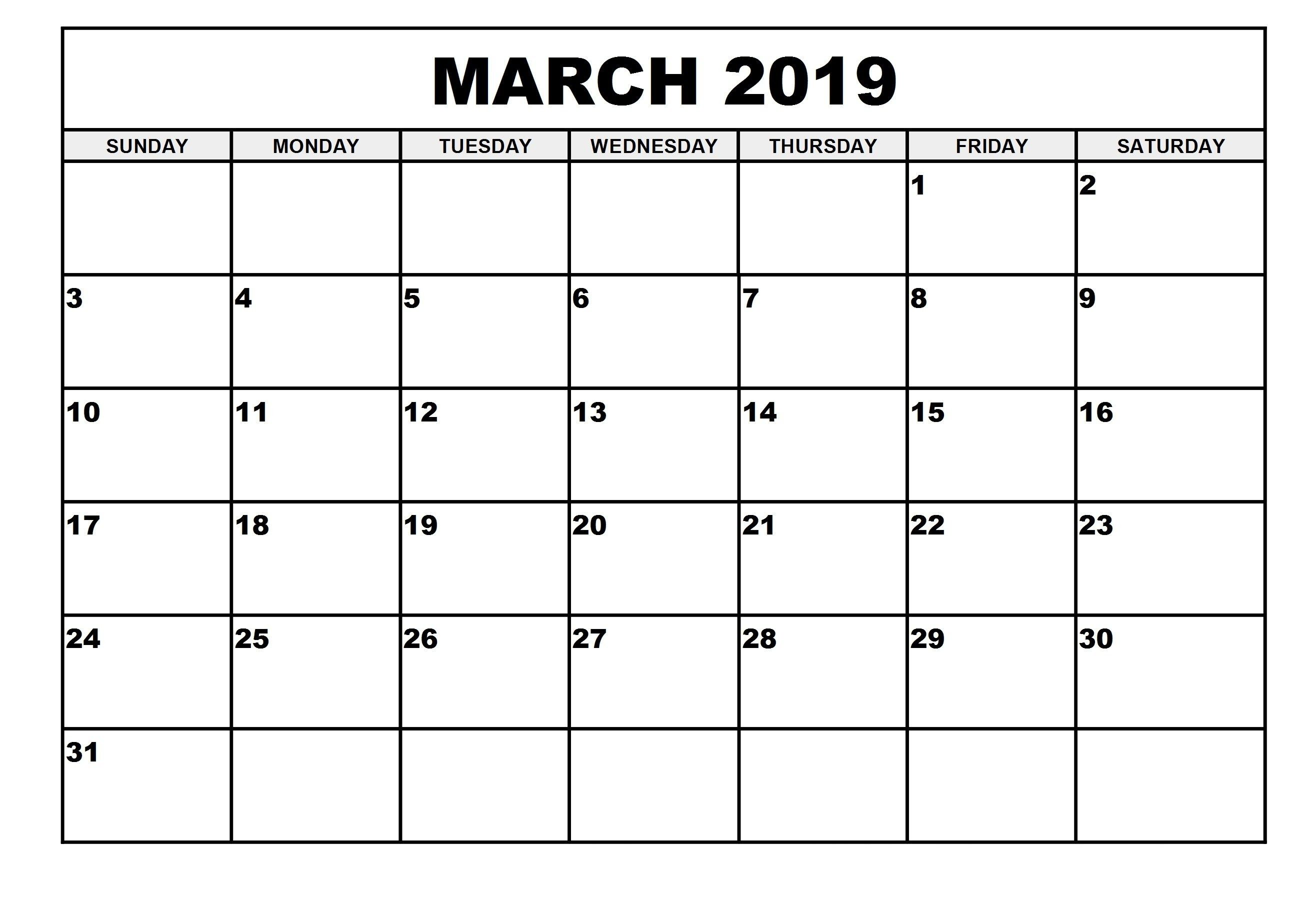 March Calendar Template 2019 March 2019 Calendar PDF   Free August 2019 Calendar Printable