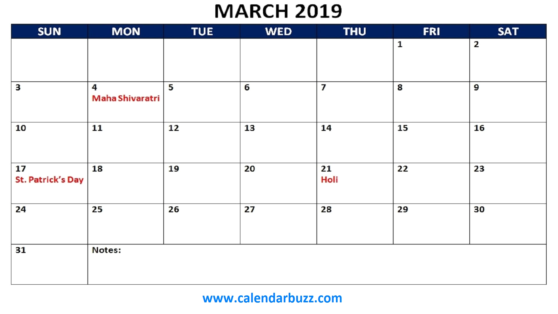 March 2019 Calendar With Holidays Canada
