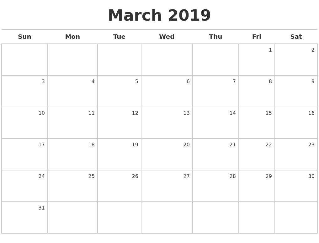 March 2019 Calendar Free August 2019 Calendar Printable