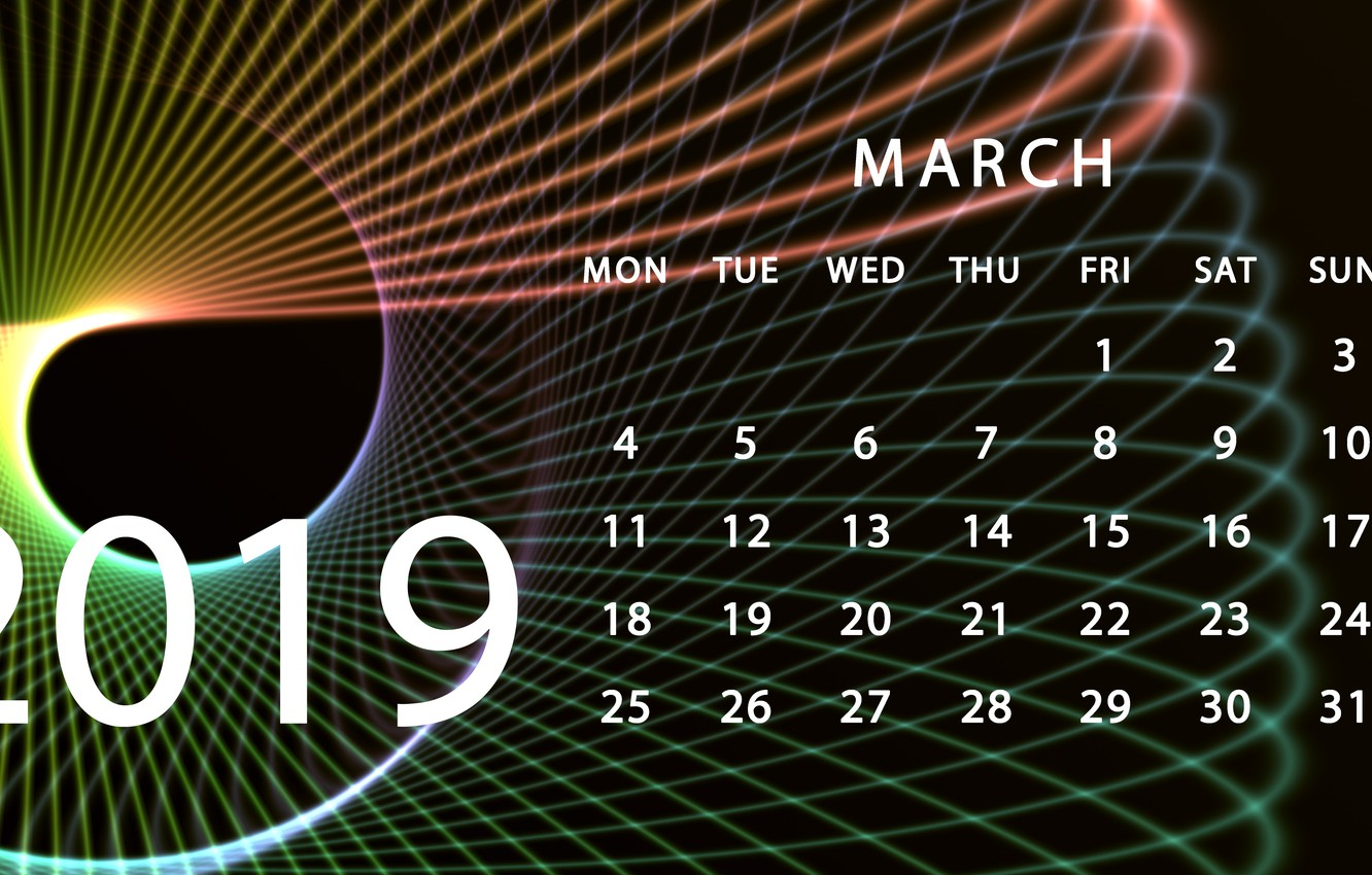 March 2019 Desktop HD Calendar Wallpaper