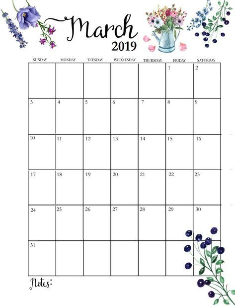 March 2019 Floral Wall Calendar