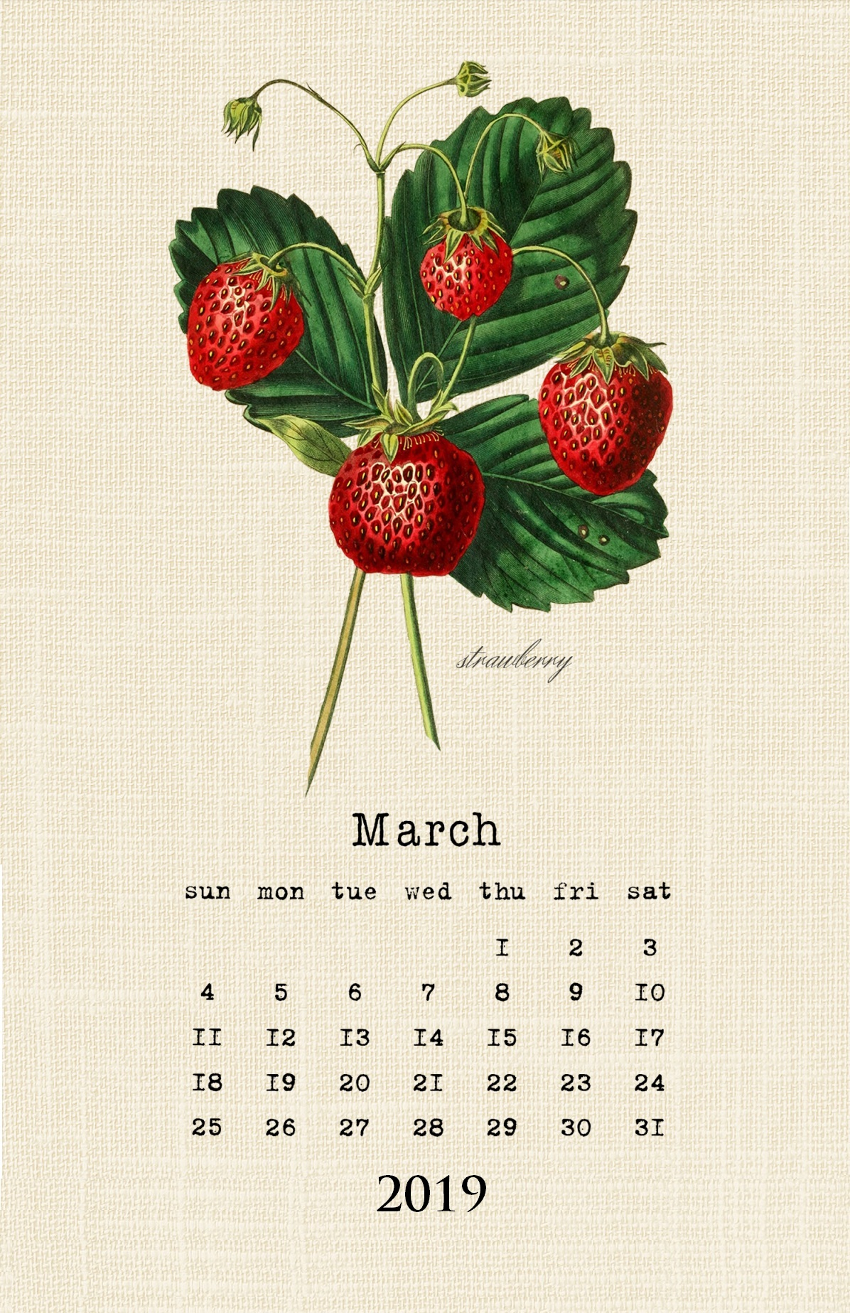 March 2019 HD Wall Calendar