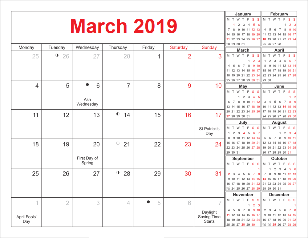 March 2019 Holidays Calendar With Moon Phases Free August