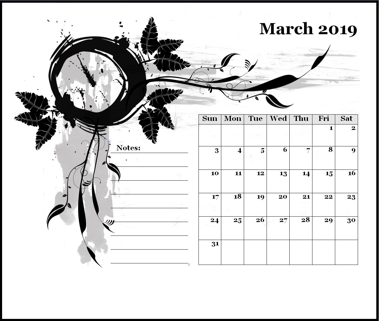 March 2019 Monthly Desk Calendar