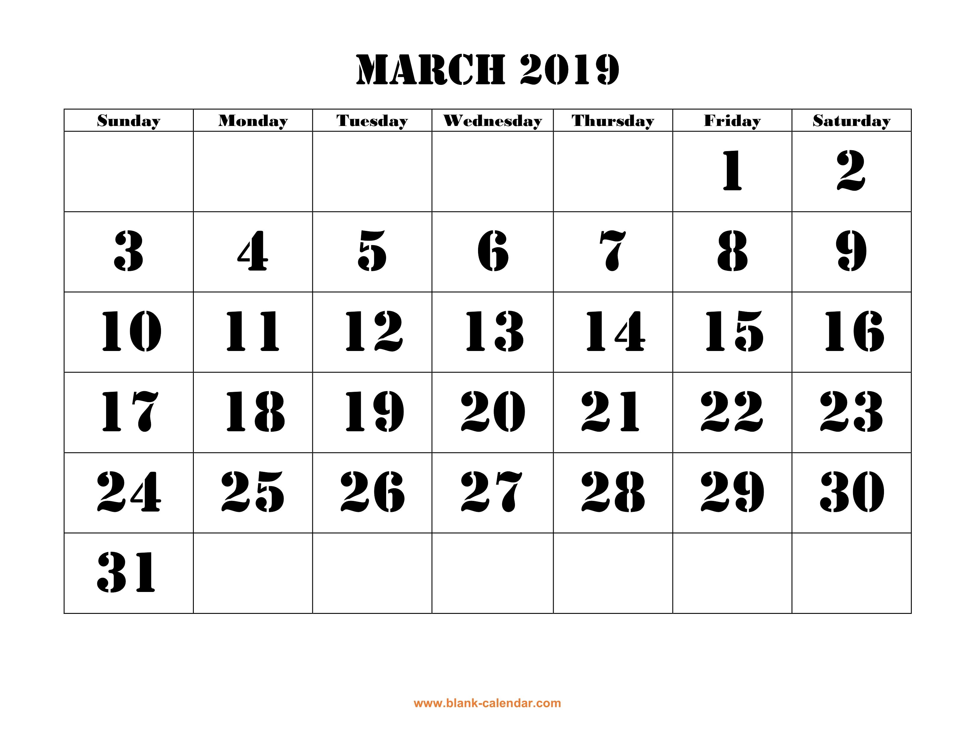 March 2019 Printable Calendar