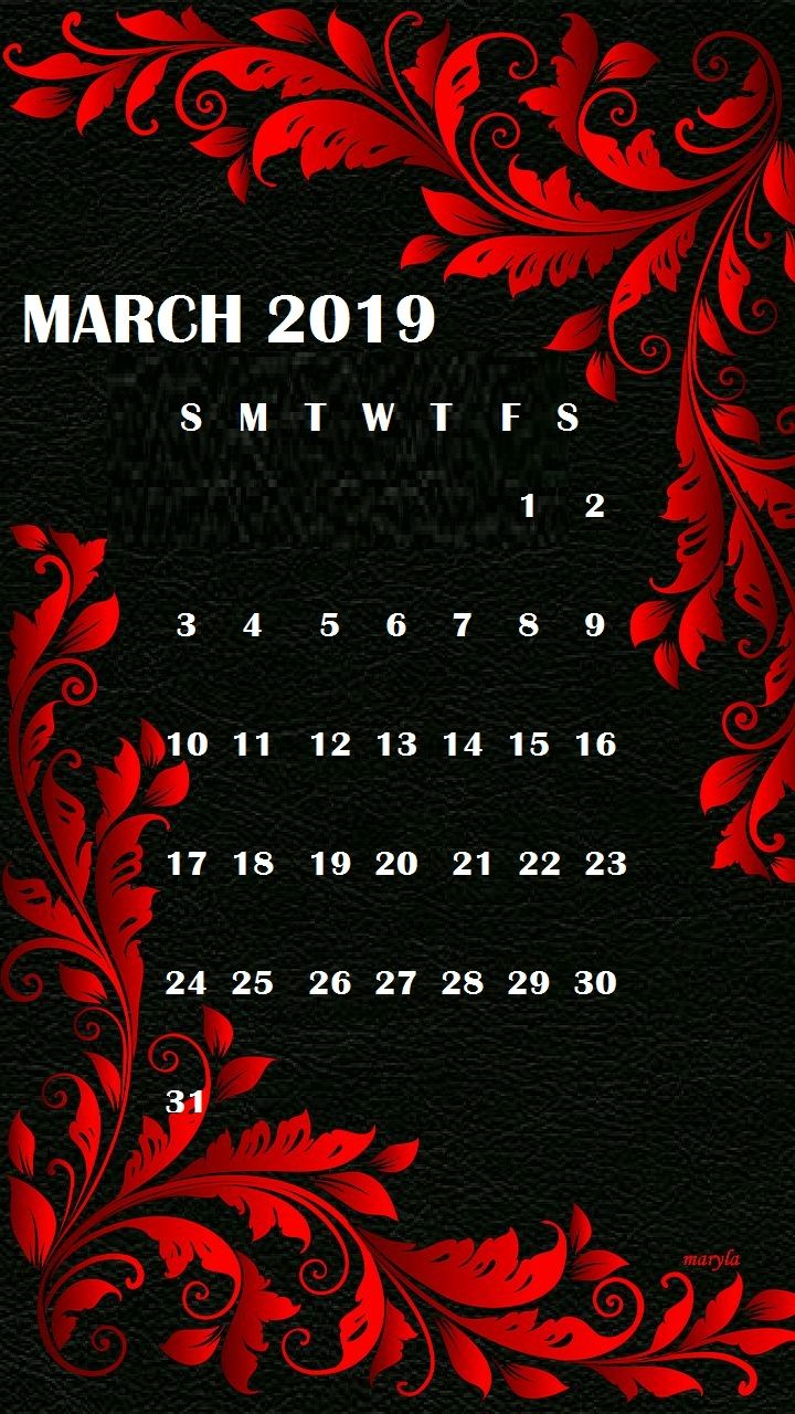 March 2019 iPhone Wallpaper Calendar