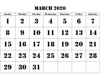 March 2020 Calendar Excel