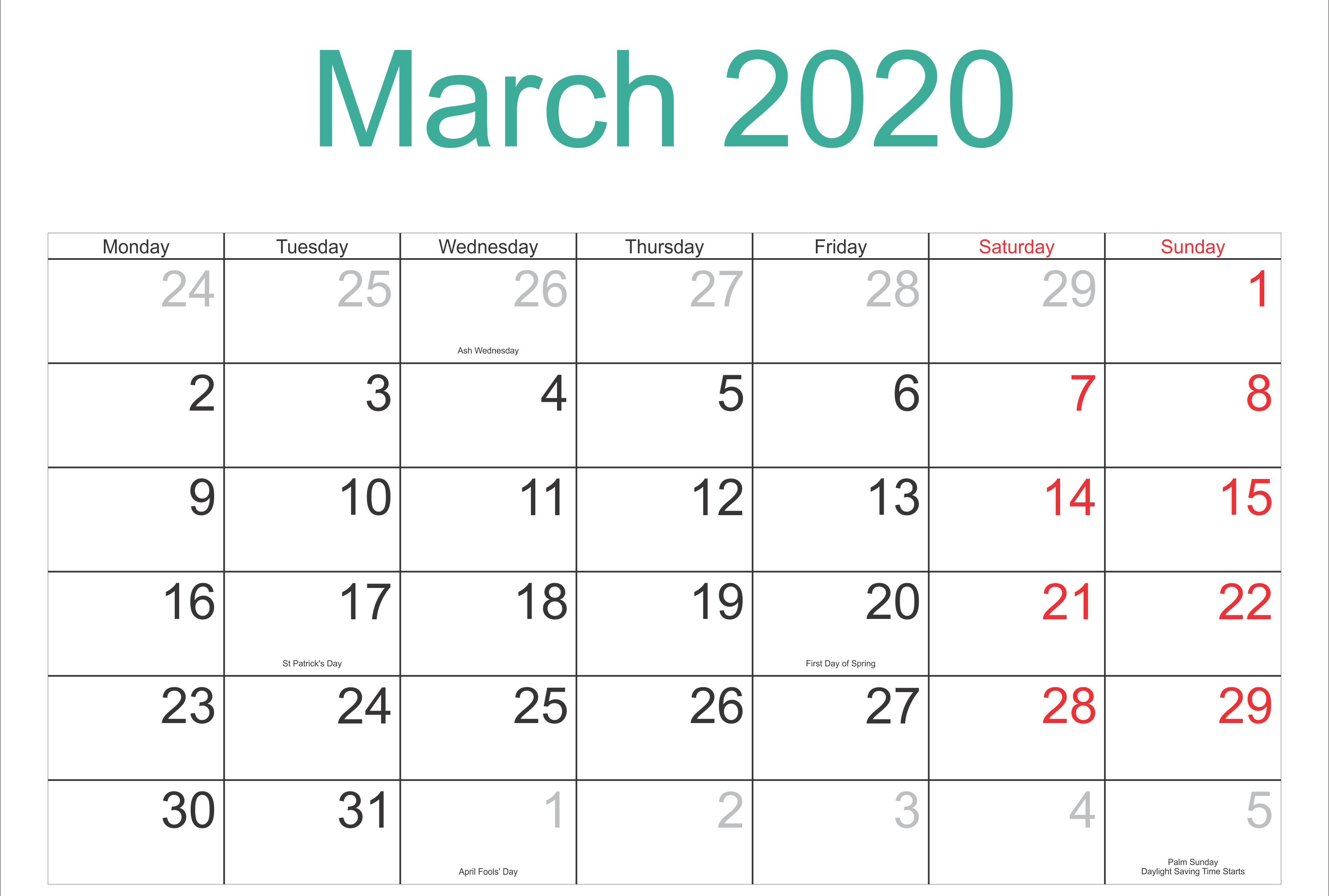 March 2020 Printable Calendar Monthly