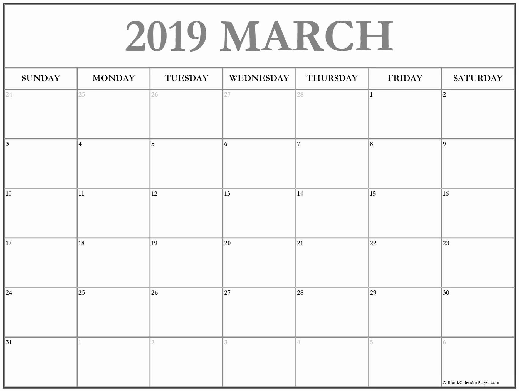 Monthly Calendar Template March 2019