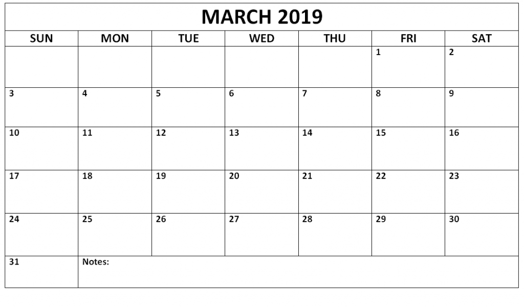 Print March 2019 Calendar Landscape