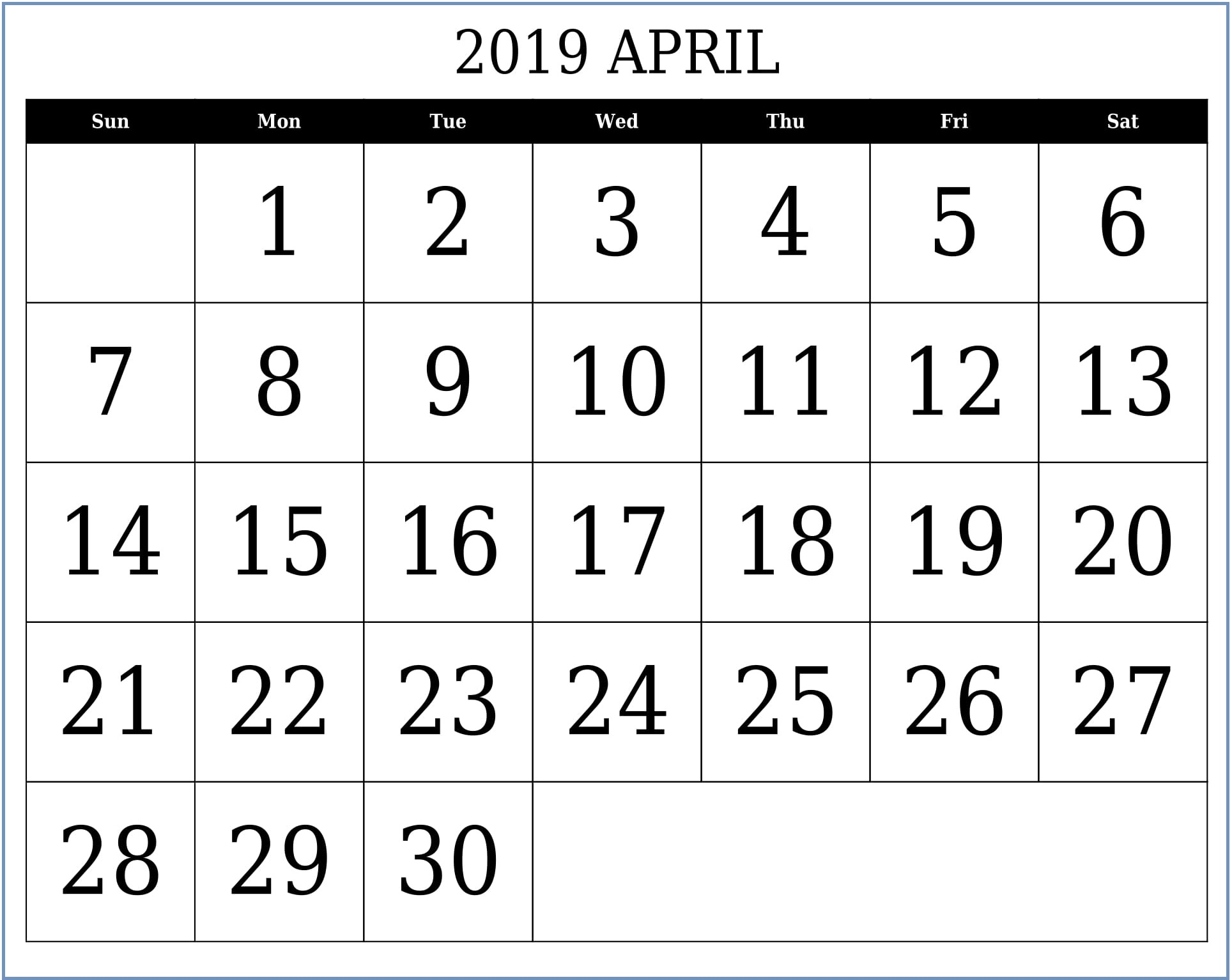 Printable Calendar For April 2019